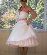 """Alice"" White Wedding Dress with Pink Trimmed Sweetheart Neckline"