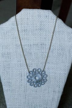 Kachin Necklace Tatted Flower in Grey and Bronze by by hilltribers, $24.00