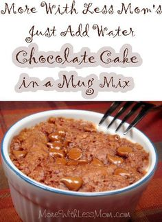 Linda Loo's Just Add Water Chocolate Mug Cake Mix Recipe from More With Less Mom I make these all the time. The temptation is too great, I had to stop making the dry mix ahead. At least it's better for you than those box mixes.