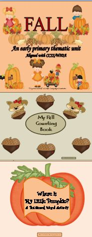 Enjoy teaching math and literacy skills using the concepts of the autumn season. This unit helps you saturate your classroom in the vocabulary and concepts of fall. The students will learn about fall through poetry, writing, science notebook activities, cooking experiences, math and literacy skills. This jumbo unit has 110 slides.