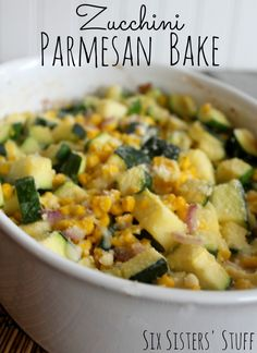 Zucchini Parmesan Bake - The perfect summer side dish from sixsistersstuff.com