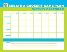 Try this #free worksheet- 'Create a Grocery Game Plan: Weekly #Calendar.'  Plan your weekly meals to #organize your #grocery list, allowing for a quicker trip to the store. #MyPlate #mealplanning http://go.usa.gov/8nCF