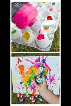 Full empty egg shells with paint and let your kiddos throw it at a canvas. They get to break stuff, and make a mess! What kid wouldn't love this?!