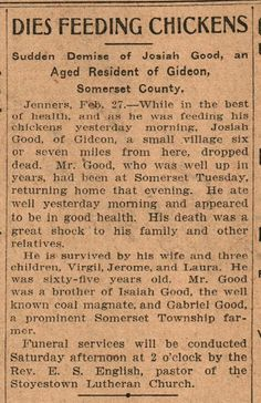 Vintage Johnstown: Dies Feed Chickens - 1908