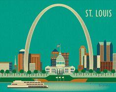 St Louis Missouri Skyline  City Art Poster Print  by loosepetals, $26.00