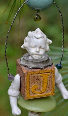 old alphabet block ornament -