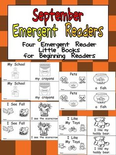 This set has 4 emergent reader little books to use in a preschool or kindergarten classroom in the month of September. These books would be great for browsing boxes, independent reading, guided reading groups, or Read to Self. There are other sets for each month of the school year, which build in difficulty throughout the year. For this month's books, here are the titles of the books: My School, Pets, I See Fall, and I Like My Toys. Sight Words included are my, a, I, see, the, and like. $