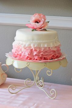 This is a birthday cake, but actually, this would be very pretty for a wedding minus the flower on top