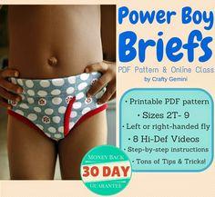 Learn to make underwear for boys in the NEW Power Boy Briefs Underwear PDF Pattern and Online Class by @CraftyGemini.