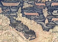 Italy's iconic coastline (Fra Mauro) - from Map of the World, ~1450 #antique #mapping