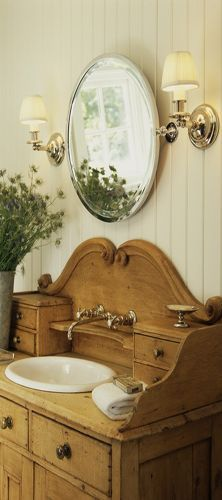 Country Cottage Bathroom Ideas - love this buffet used as a bathroom vanity.