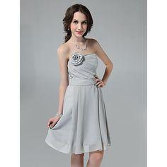 Princess Sheath/ Column Strapless Knee-length Chiffon Bridesmaid Dress – USD $ 99.99