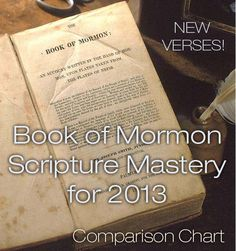 There have been 8 replacements or changes to the 2013-2014 scripture mastery list for Book of Mormon. Compare the changes using this chart.