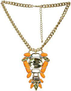 Neon Aztec Statement Necklace, $17