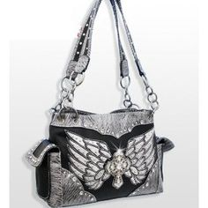 Black and Silver Cross and Wing Purse In Stock $44.99