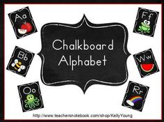 Chalkboard Alphabet from KellyYoung on TeachersNotebook.com -  (58 pages)  - Chalkboard theme alphabet will brighten your classroom with these bright and vivid poster wall cards!