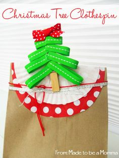 A Christmas Tree Clothespin. Fun for gift toppers, hanging kids work, and so much more!