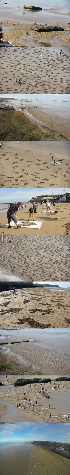 9,000 Fallen Soldiers Etched into the Sand on Normandy Beach to Commemorate Peace Day.
