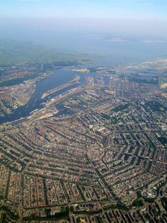Amsterdam holland seen from above. Only from a plane you'll get a good idea of it's structures and the way the canals make up the form of the city