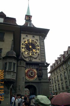 A famous clock tower in downtown Bern