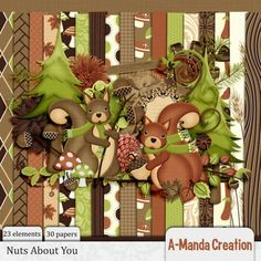 Nuts About You Page Kit an adorable fall themed digital scrapbooking kit.  Pine branches and mushrooms, bark curling on the trees, autumn is coming…. pretty as you please.  Squirrels wrapped in scarves, pine cones on the ground, trees changing colors from green to brown.  Tell me the story of a love that is true, you can bet your last acorn, I'm Nuts About You!