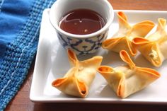 Baked Crab Rangoon with Pineapple Dipping Sauce - Inquiring Chef  The pineapple dipping sauce is amazing! Make it. You won't regret it.