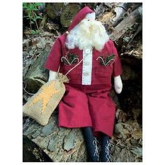 Santa Claus Craft Patterns | Primitive Santa Claus Doll Pattern Christmas Craft Sewing