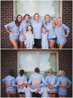 Bridesmaids shirts with how many years you have known them on the back!