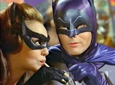 Batman (Adam West) and Catwoman (Julie Newmar) from the 1960s TV show.