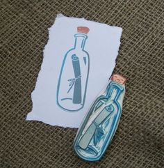 Message in a Bottle Rubber Stamp