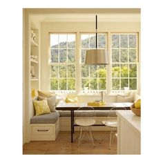 Kitchen Inspiration / family farmhouse kitchen - window seat would like this for our kitchen
