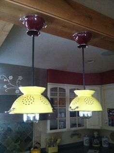 Our new colander lights we made for the kitchen!