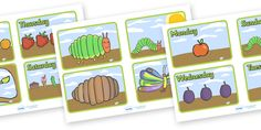 Twinkl Resources >> The Very Hungry Caterpillar Story Sequencing (4 per A4)  >> Thousands of printable primary teaching resources for EYFS, KS1, KS2 and beyond! the very hungry caterpillar, Eric Carle, resources, Hungry Caterpillar, life cycle of a butterfly, days of the week, food, fruit, story book, story book resources, story sequencing, activity, teaching aid,