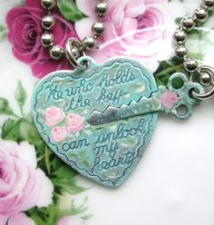 Vintage Style Sentimental Silver Heart and Key Double Necklace Romantic Shabby Chic Pink Enamel Roses Aqua Patina by TheVintageHeart