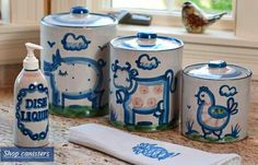 Stoneware canisters and liquid dispenser from Hadley Pottery. Create a beautiful kitchen that's functional too!
