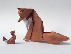 animals, diy crafts, papers, paper sculptures, foxes, origami art, cub, sculpture art, red fox
