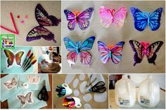 plastic, butterflies, window crafts, milk bottles, sun catcher, milk cartons, kid crafts, window art, milk jug crafts