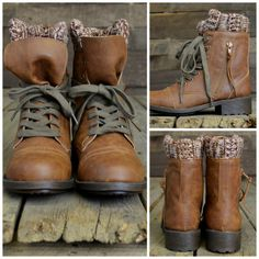 Moose Trails Camel Sweater Ankle Boots