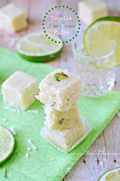 Tequila Lime Coconut Fudge by The Sweet Chick #tequila, #lime, #coconut, #fudge