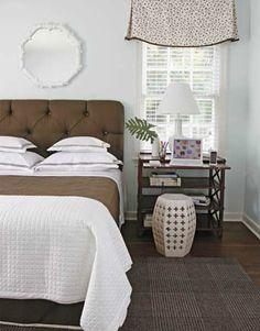 Love nightstand and window treatment