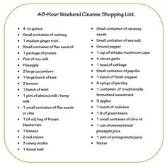 Dr. Oz's 48-Hour Weekend Cleanse Shopping List   The Dr. Oz Show