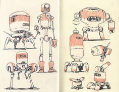 sketchbook pages, concept, mecha, jake parker, charact design, art, sketchbooks, draw robot, inspir