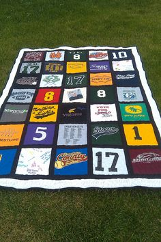Rag quilt from old t-shirts. My mom just gave me one for my 35th birthday made from all of my old band shirts. I didn't even know she kept them all. Great keepsake for my boys using their sports shirts.