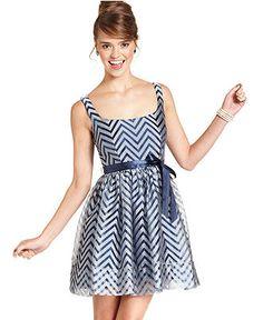 Teeze Me Juniors Dress, Sleeveless Belted Chevron at Macy's