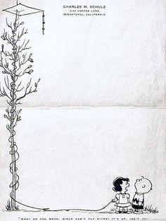 Charles M. Schulz's letterhead via Comics Alliance