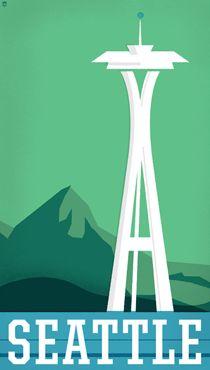 graphic design, illustrations, vintag travel, state, places, seattl, vintage travel posters