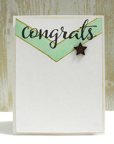 Chevron Congrats card by Jennifer Ingle using @winniewalter stamps.