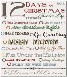 12 days of Christmas Bucket list, Free Printable