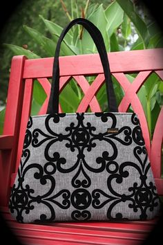 """""""Kayla"""" tote made with gray linen fabric and a black velvet scroll design from Chopstix"""