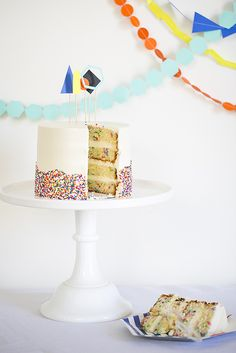cute birthday cake and streamers